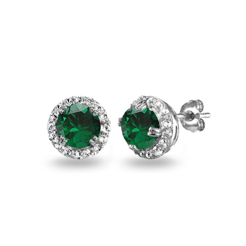 Sterling Silver Simulated Emerald & White Topaz Round Halo Stud Earrings