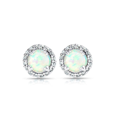 Sterling Silver Simulated White Opal and Blue Topaz Round Halo Stud Earrings