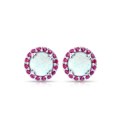Sterling Silver Simulated White Opal and Ruby Round Halo Stud Earrings