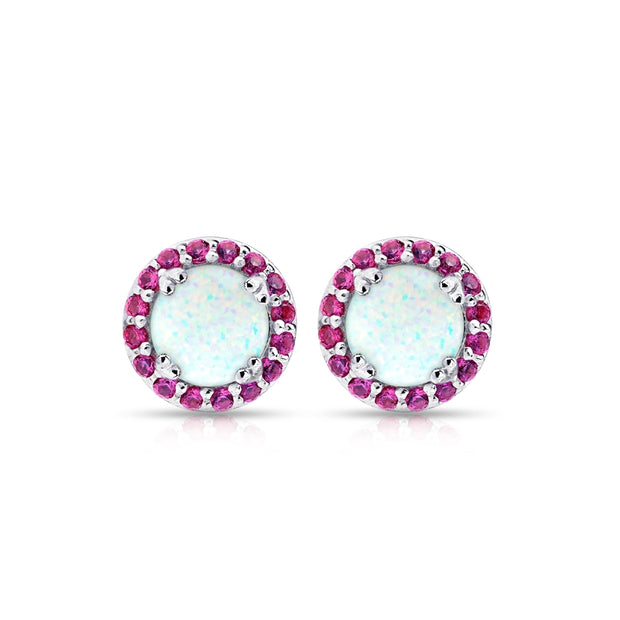 Sterling Silver Created White Opal and Ruby Round Halo Stud Earrings