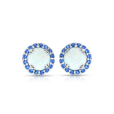 Sterling Silver Simulated White Opal and Blue Sapphire Round Halo Stud Earrings