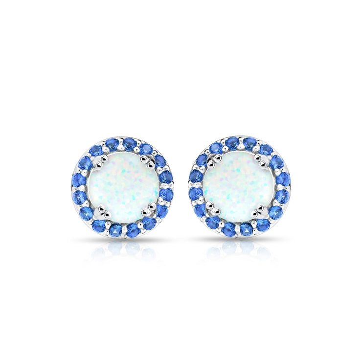 Sterling Silver Created White Opal and Blue Sapphire Round Halo Stud Earrings