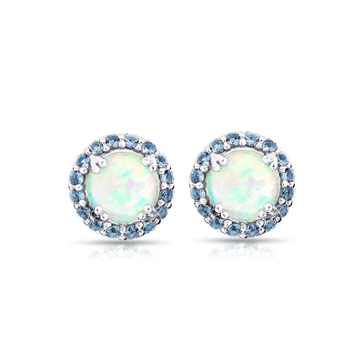 Sterling Silver Simulated White Opal and Tanzanite Round Halo Stud Earrings
