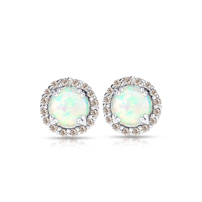 Sterling Silver Simulated White Opal and Morganite Round Halo Stud Earrings
