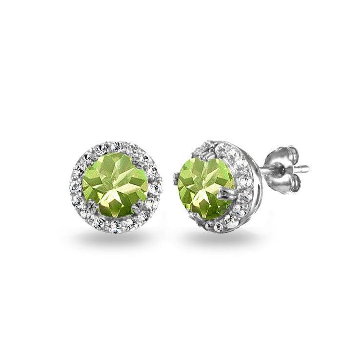 Sterling Silver Peridot & White Topaz Round Halo Stud Earrings