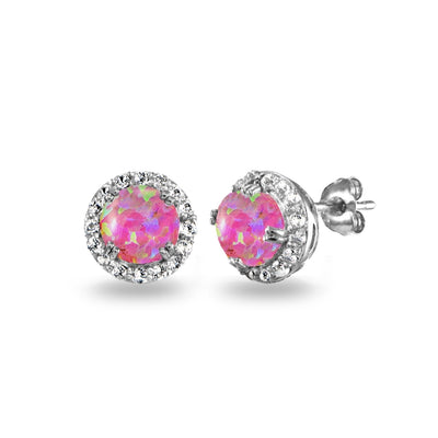 Sterling Silver Created Pink Opal & White Topaz Round Halo Stud Earrings