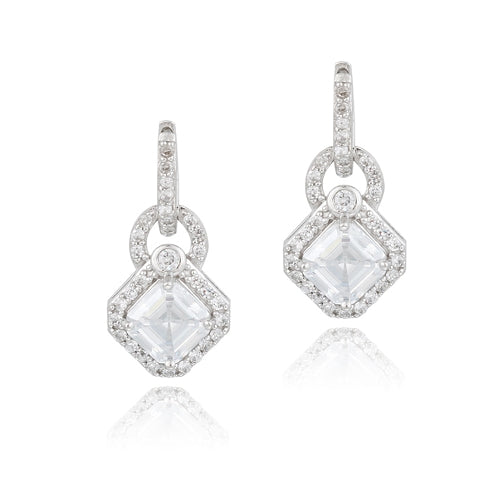 Sterling Silver 4.5ct Asscher Cut CZ Geometric Dangle Hoop Earrings