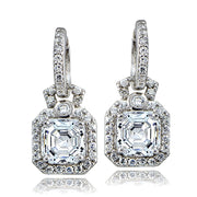 Sterling Silver 4.5ct Asscher Cut CZ Dangle Hoop Earrings