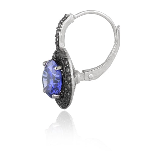 Sterling Silver 4ct Tanzanite CZ & Black Diamond Accent Leverback Earrings