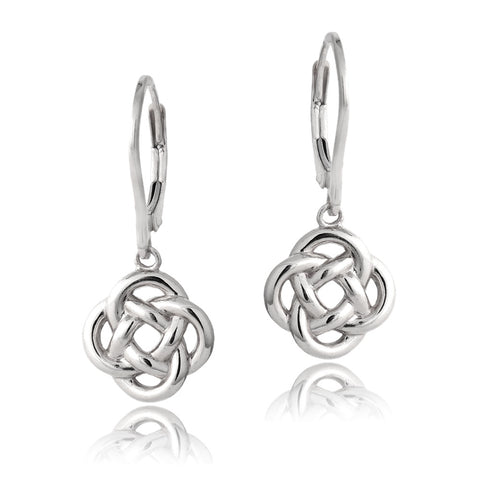 Sterling Silver Love Knot Flower Dangle Leverback Earrings