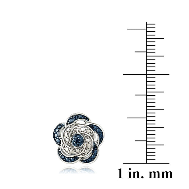 Sterling Silver Blue Diamond Accent Flower Stud Earrings