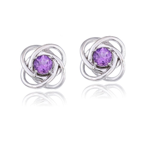 Sterling Silver 3/4ct Amethyst Love Knot Stud Earrings