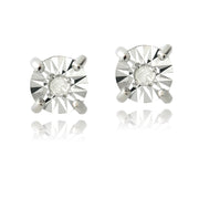 Sterling Silver Diamond Accent Illusion-Set Stud Earrings