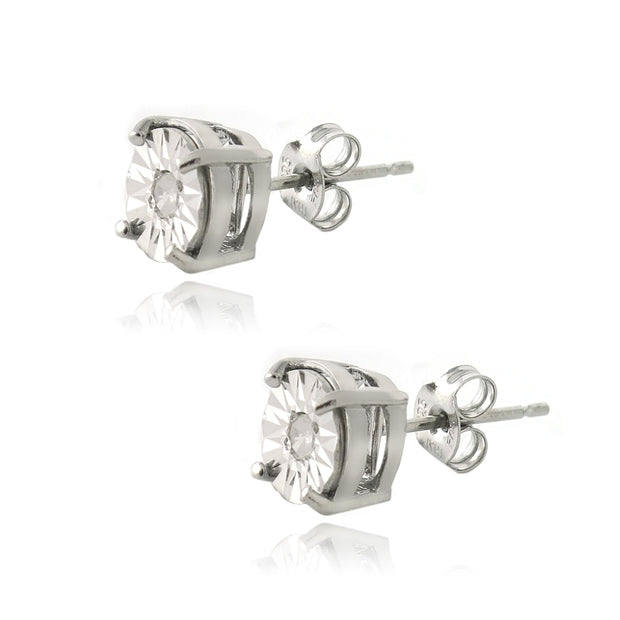 Sterling Silver 1/10 ct Diamond Illusion-Set Stud Earrings
