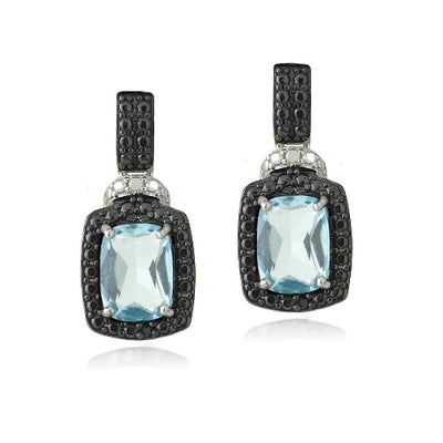 Sterling Silver 3.8ct Blue Topaz & Black Diamond Accent Rectangle Dangle Earrings