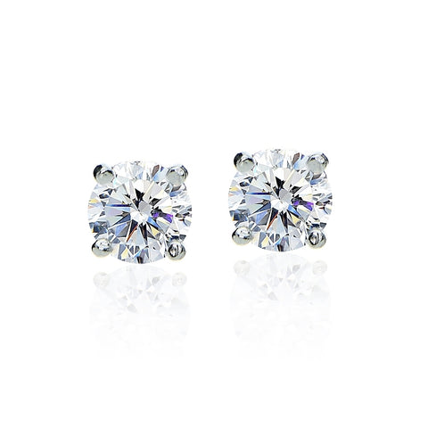Sterling Silver 2ct Round Solitaire Stud Earrings set with Swarovski Zirconia