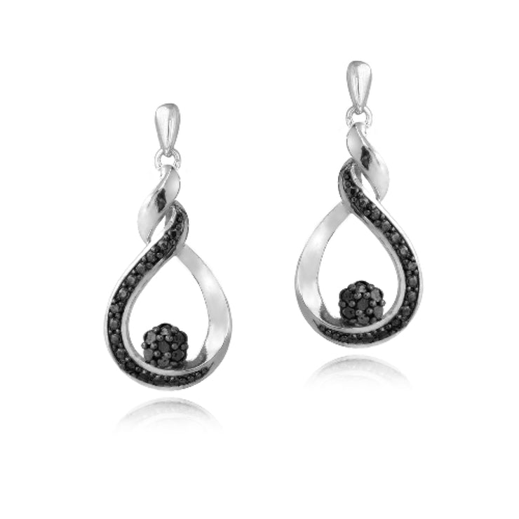 Sterling Silver 1/10 ct Black Diamond Cluster Teardrop Dangle Earrings