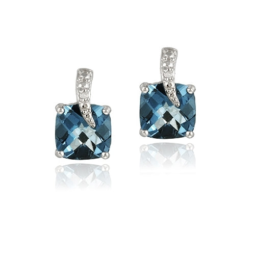 Sterling Silver 6.7ct London Blue Topaz & Diamond Accent Cushion Cut Curve Earrings