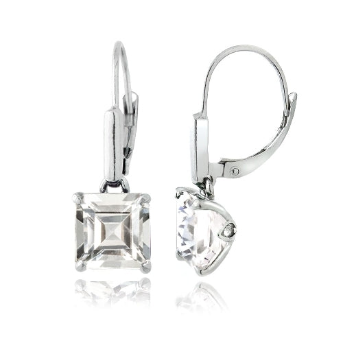 Sterling Silver 5.5ct Created White Sapphire Square Leverback Earrings