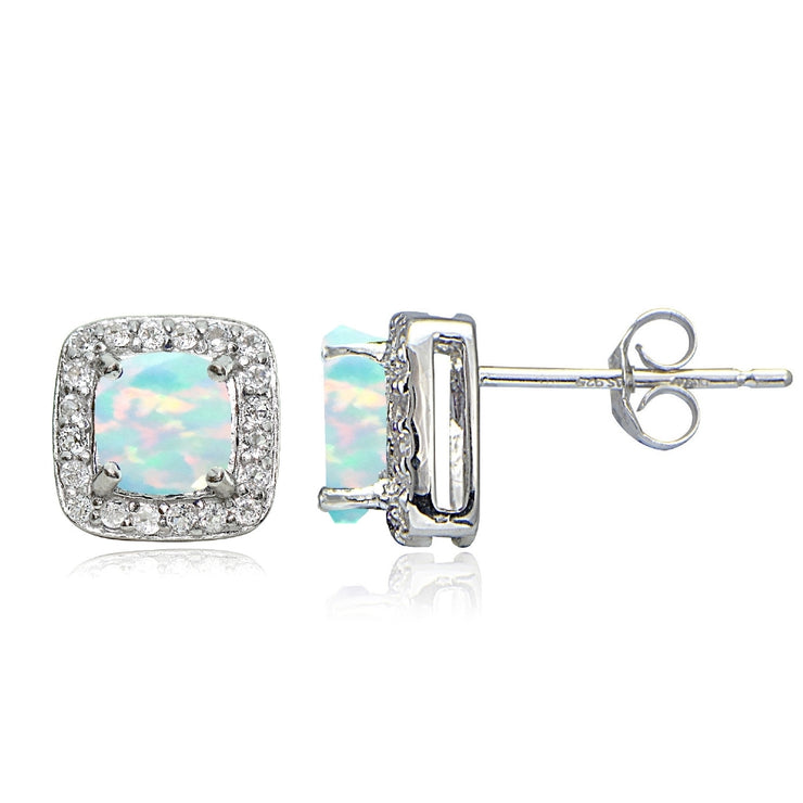 Sterling Silver Created White Opal & White Topaz Cushion-Cut Stud Earrings