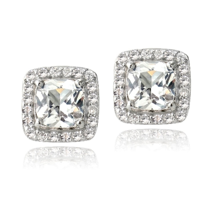 Sterling Silver 2.5ct White Topaz Square Cushion-Cut Stud Earrings