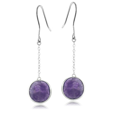 Sterling Silver Dogtooth Amethyst Round Dangle Earrings