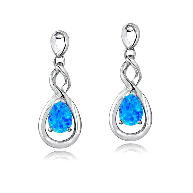 Sterling Silver Created Blue Opal Triple Infinity Twist Dangle Earrings