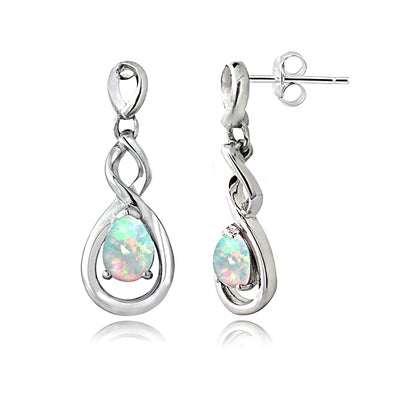 Sterling Silver Created White Opal Triple Infinity Twist Dangle Earrings