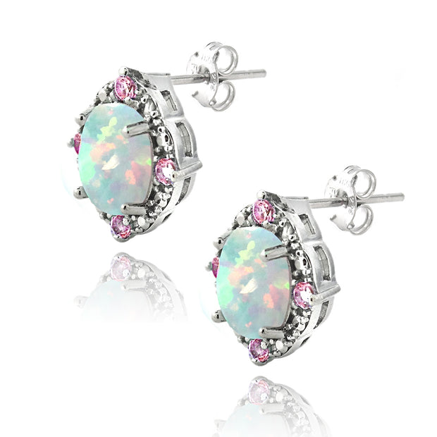 Sterling Silver 2.86ct Created Opal & Pink Sapphire Diamond Accent Oval Earrings