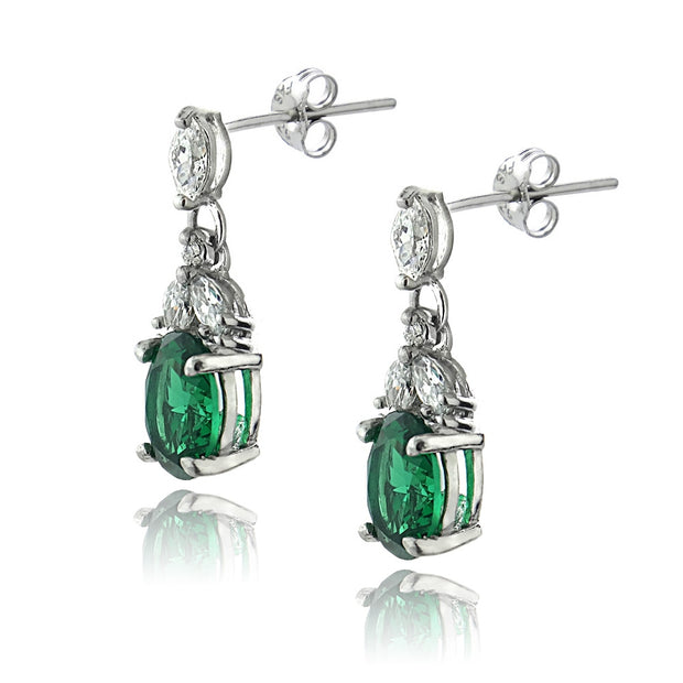 Sterling Silver Created Emerald & CZ Oval Dangle Earrings