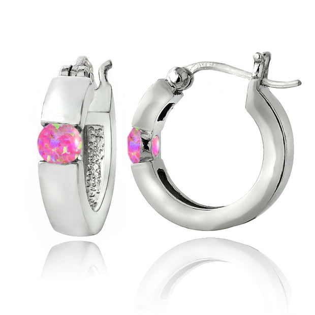 Sterling Silver Created Pink Opal Huggie Earrings
