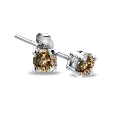 Sterling Silver 1/8 ct Champagne Diamond Stud Earrings