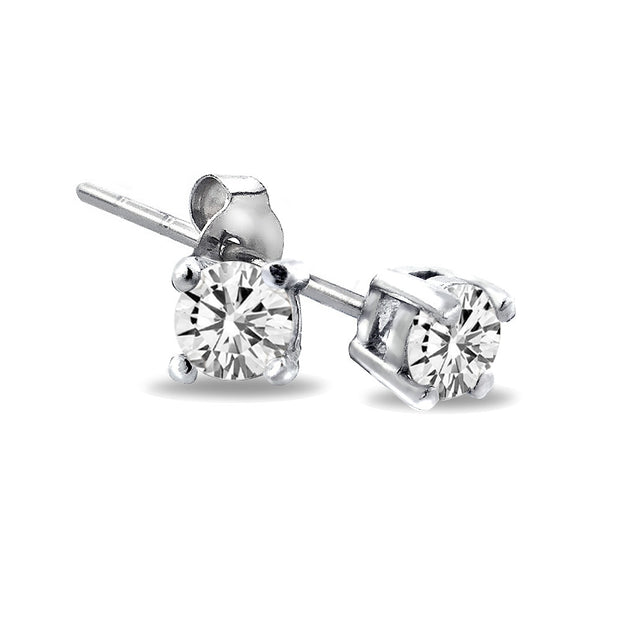 Sterling Silver 1/8 ct Diamond Stud Earrings (H-I,I2-3)
