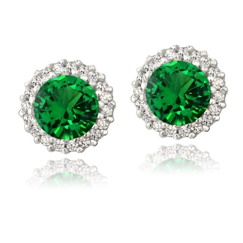 Sterling Silver 3.2ct Created Green Quartz & CZ Halo Stud Earrings