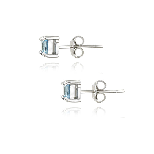 Sterling Silver .5ct Blue Topaz Square Stud Earrings, 3mm