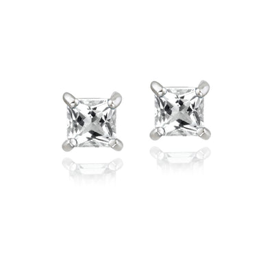 Sterling Silver .5ct White Topaz Square Stud Earrings, 3mm