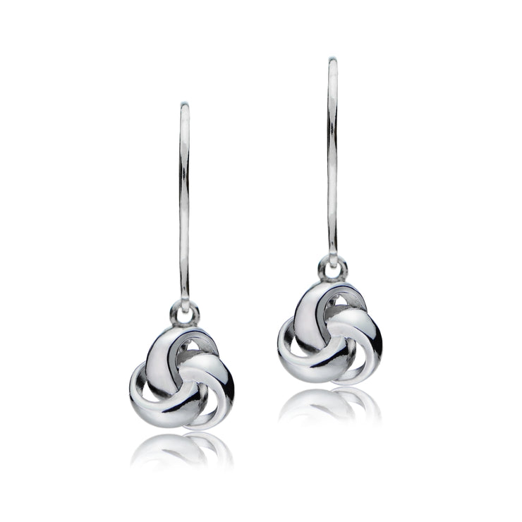 Sterling Silver Love Knot Dangle Leverback Earrings