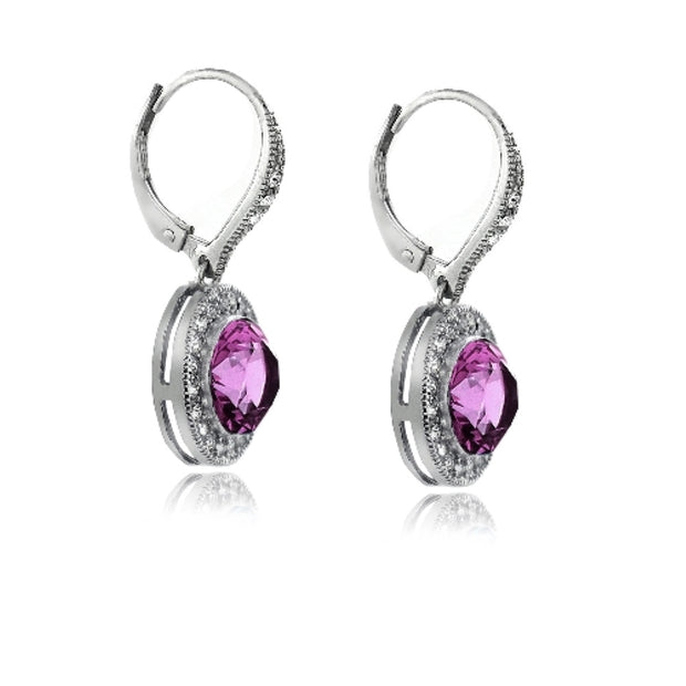 Silver Tone Purple & Clear Swarovski Elements Halo Dangle Leverback Earrings