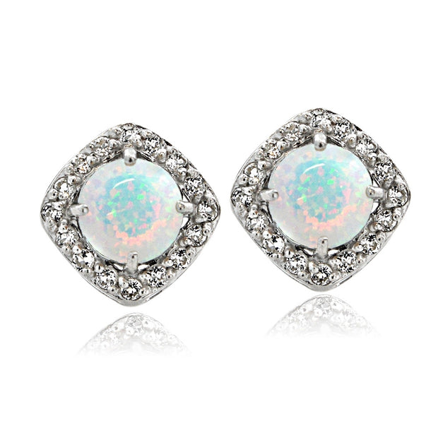 Sterling Silver Created Opal with White Topaz Diamond Shape Stud Earrings