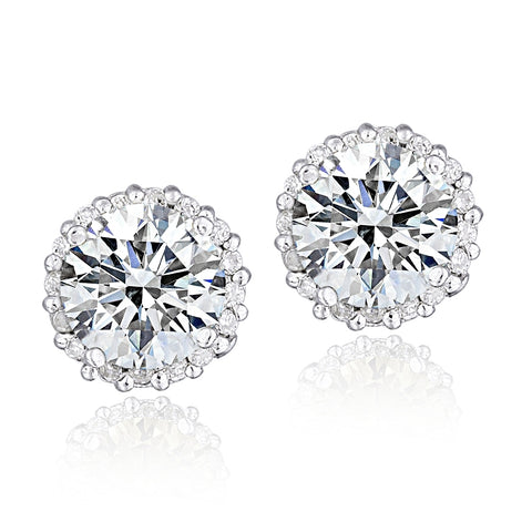 Platinum Plated Sterling Silver 100 Facets Cubic Zirconia Halo Stud Earrings (2cttw)