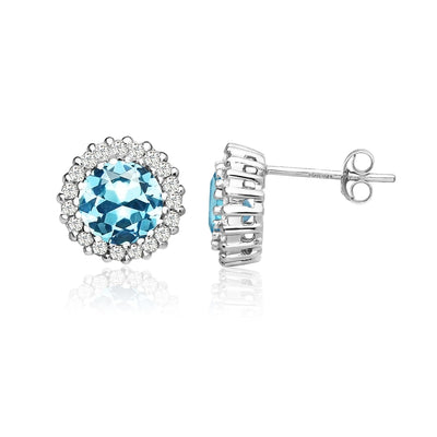 Sterling Silver Simulated Aquamarine and Cubic Zirconia Round Halo Stud Earrings
