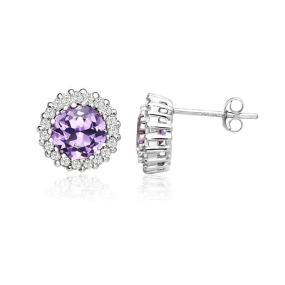 Sterling Silver Simulated Amethyst and Cubic Zirconia Round Halo Stud Earrings