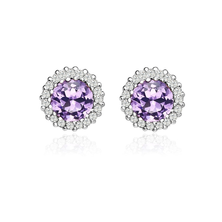 Sterling Silver Created Amethyst and Cubic Zirconia Round Halo Stud Earrings
