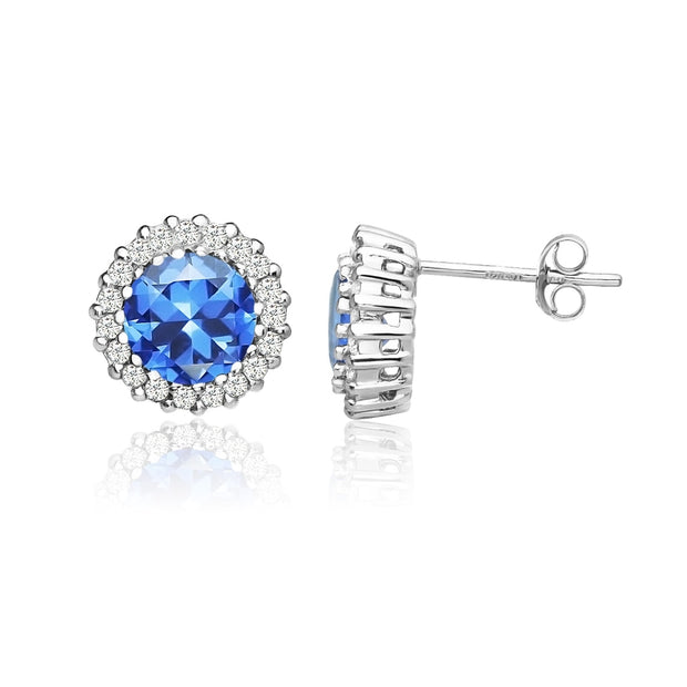 Sterling Silver Simulated Blue Sapphire and Cubic Zirconia Round Halo Stud Earrings