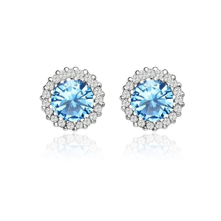 Sterling Silver Created Blue Topaz and Cubic Zirconia Round Halo Stud Earrings
