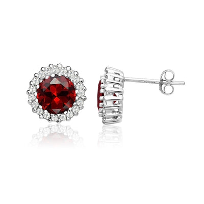 Sterling Silver Simulated Garnet and Cubic Zirconia Round Halo Stud Earrings