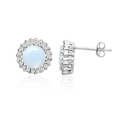 Sterling Silver Simulated White Opal and Cubic Zirconia Round Halo Stud Earrings