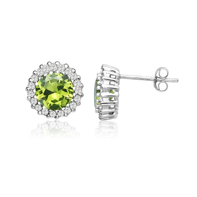 Sterling Silver Simulated Peridot and Cubic Zirconia Round Halo Stud Earrings