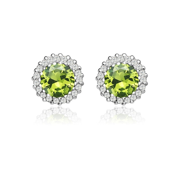Sterling Silver Created Peridot and Cubic Zirconia Round Halo Stud Earrings