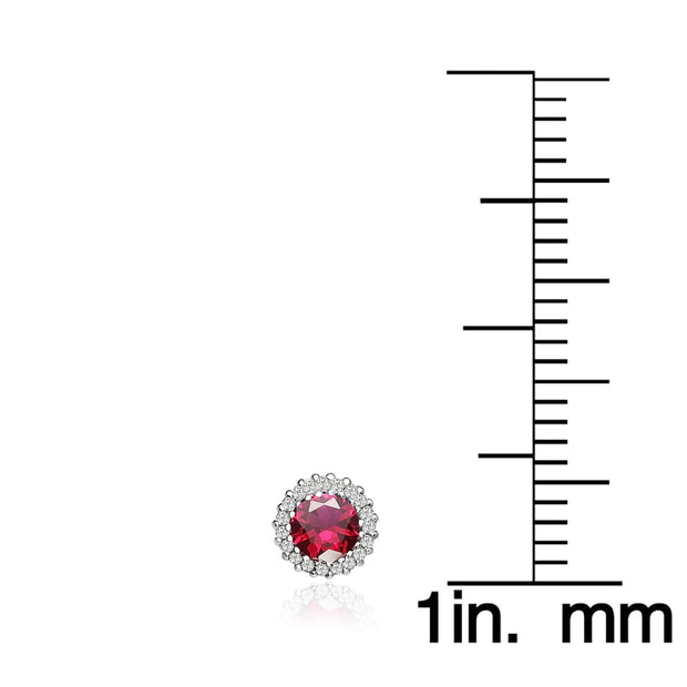 Sterling Silver Created Ruby and Cubic Zirconia Round Halo Stud Earrings